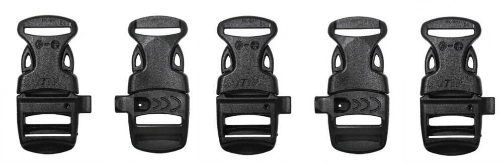5 X Emergency Whistle Buckles For Paracord Bracelets - All Black